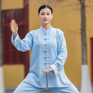 Tai chi clothing chinese kung fu uniforms Strive for Fenghua Tang clothing button tai chi clothing women Chinese style cotton hemp cloth training clothes men autumn and winter fashion Chinese style leisure