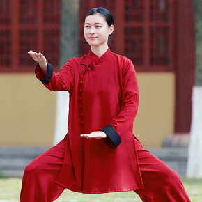 Women's new style elegant cotton hemp Taijiquan training clothes in spring and Autumn