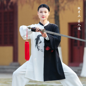 Women's new elegant hand-painted mid long performance clothes men's martial arts performance clothes spring and Autumn