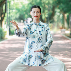 Women's new style elegant Taijiquan training clothing autumn mulberry silk thin Chinese style