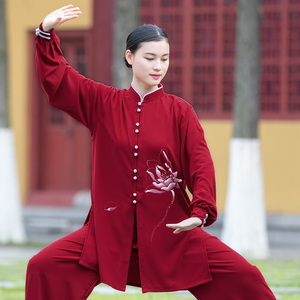 Tai chi clothing chinese kung fu uniforms Women new style elegant Tai Chi Clothingquan training clothing medium long slim fit fashion in spring and Autumn