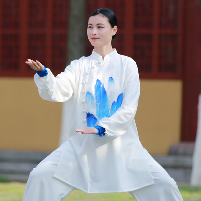 Tai chi clothing chinese kung fu uniforms Chen Jiagou Tai Chi Clothing dress new elegant Chinese style landscape hand painted martial arts performance suit spring meditation suit