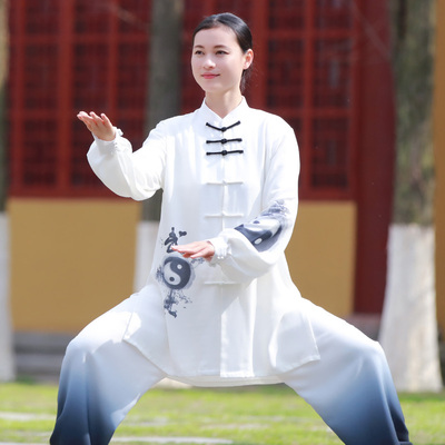 Tai chi clothing chinese kung fu uniforms Competing for Fenghua Tai Chi Clothing costume women new elegant color painting three piece suit of martial arts characters