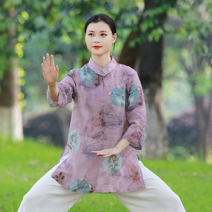 Tai chi clothing chinese kung fu uniforms Women new style elegant short sleeve clothing Chinese style summer cotton linen top thin and breathable