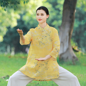 Tai chi clothing chinese kung fu uniforms New Ramie Tai Chi Clothing suit short sleeve top women summer cotton ramie thin Tai Chi Clothingquan training clothing Chinese style tea dress
