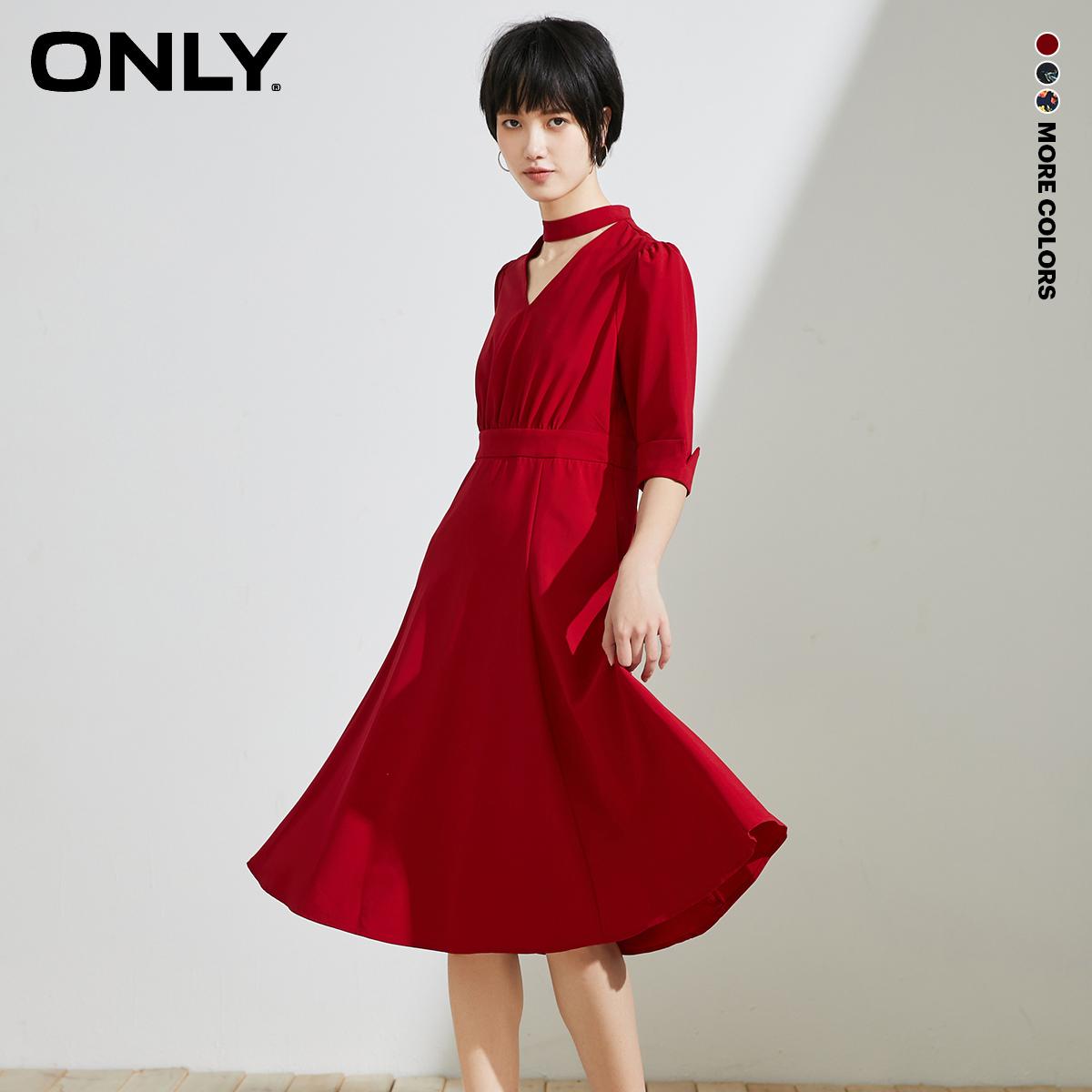ONLY2020夏季新款淑女收腰A字五分袖中长款连衣裙女|120107709