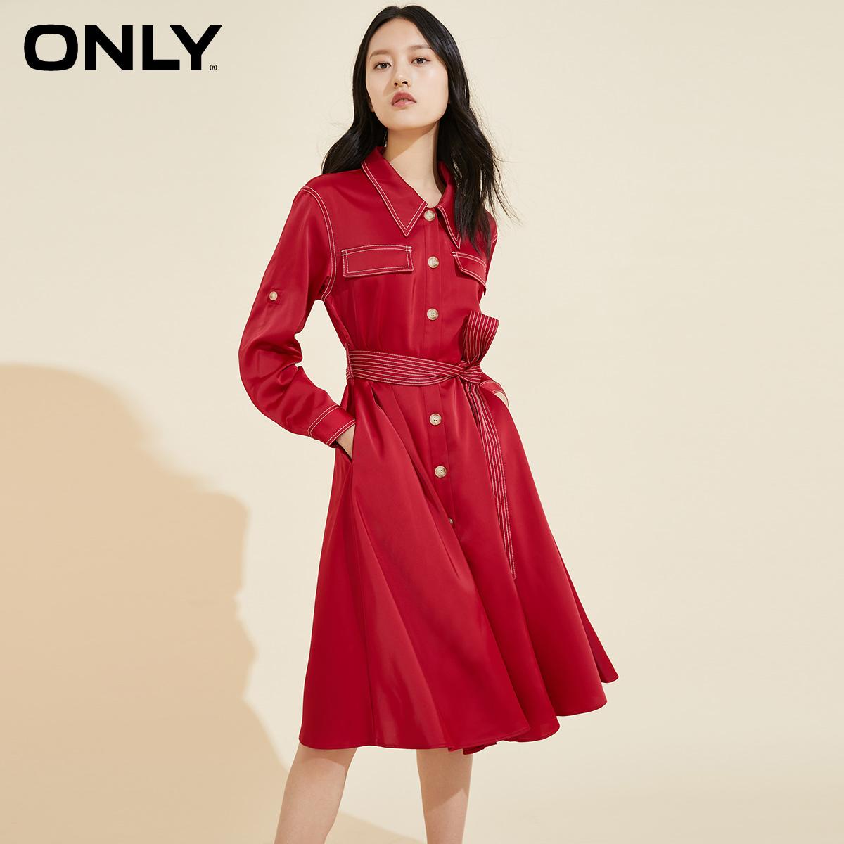 ONLY2020秋季新款气质收腰长袖中长款衬衫新年连衣裙女|120107677