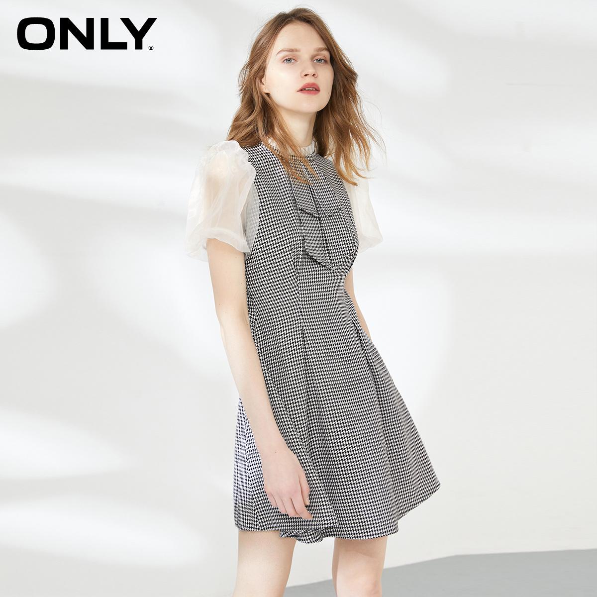 ONLY2020夏季新款气质蕾丝拼接泡泡袖收腰赫本连衣裙女|120107680