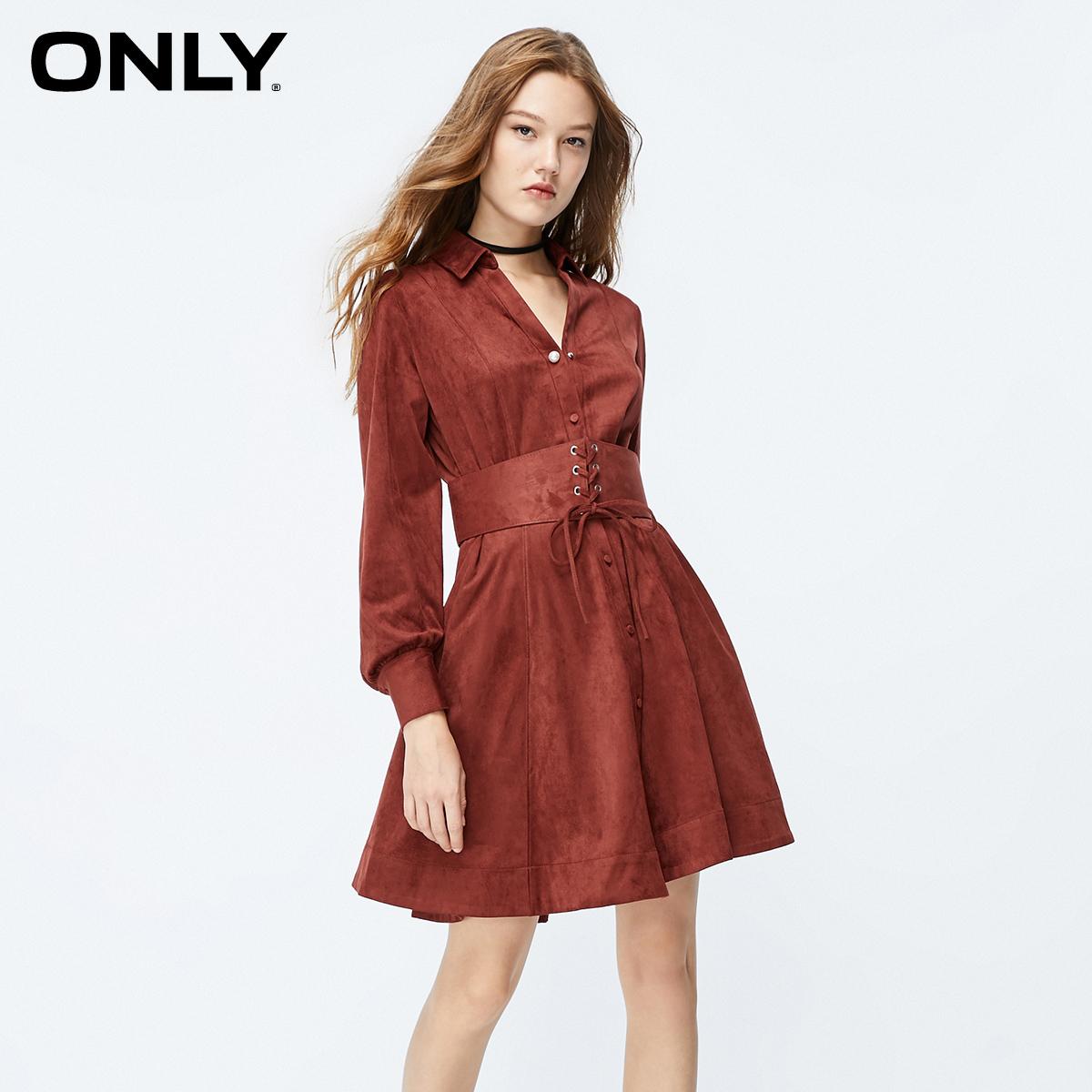 ONLY夏季新款复古绒面收腰显瘦长袖裙子连衣裙女|119307572