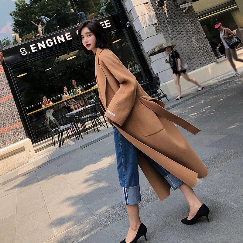 2019 mùa đông mới giữa hai chiều dài bằng len hai lớp áo len nữ cashmere Áo khoác kiểu caramen dày của Hàn Quốc - Accentuated eo áo