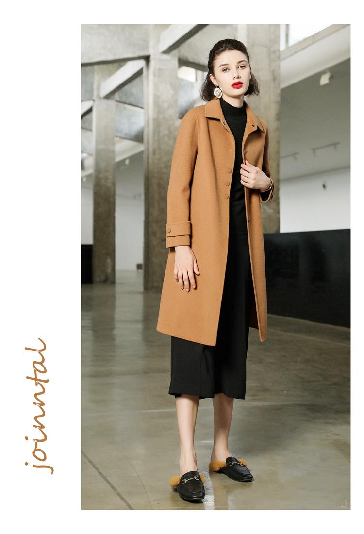乔妮塔品牌女装2021秋冬季新款羊毛呢子中长款双面呢羊绒大衣外套详细照片