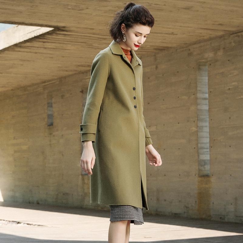 乔妮塔品牌女装2020秋冬季新款外套羊毛中长款双面呢大衣呢子羊绒