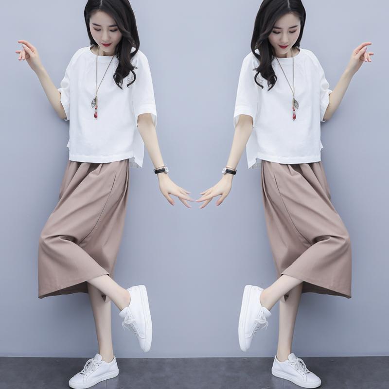 时尚裙子棉麻女2020夏季新款韩版宽松套装中长款连衣裙件套两亚麻
