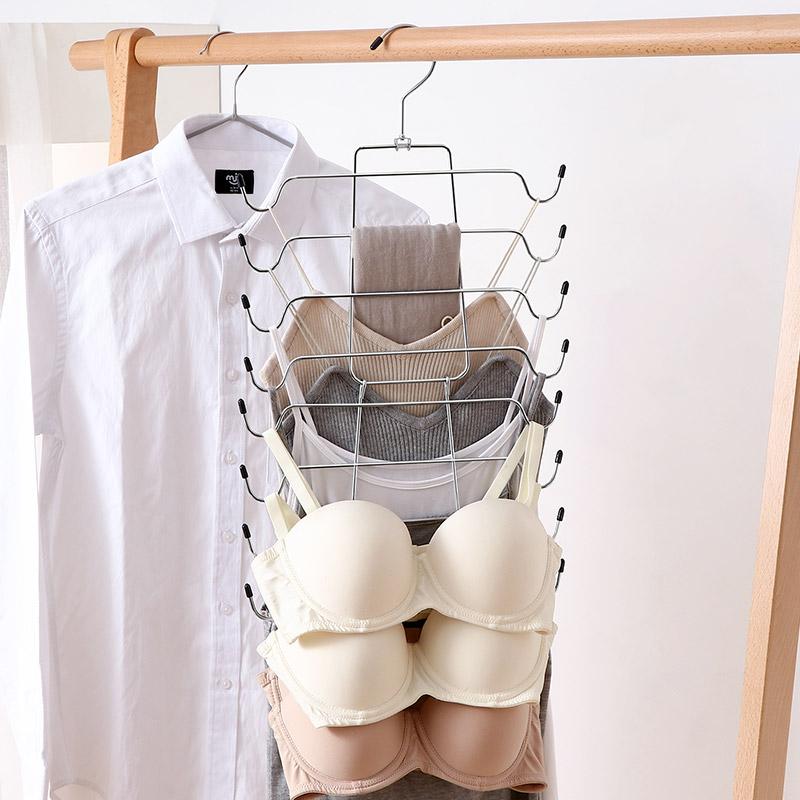 多功能衣架收纳神器多层晾衣架衣柜节省空间内衣吊带收纳魔术衣架