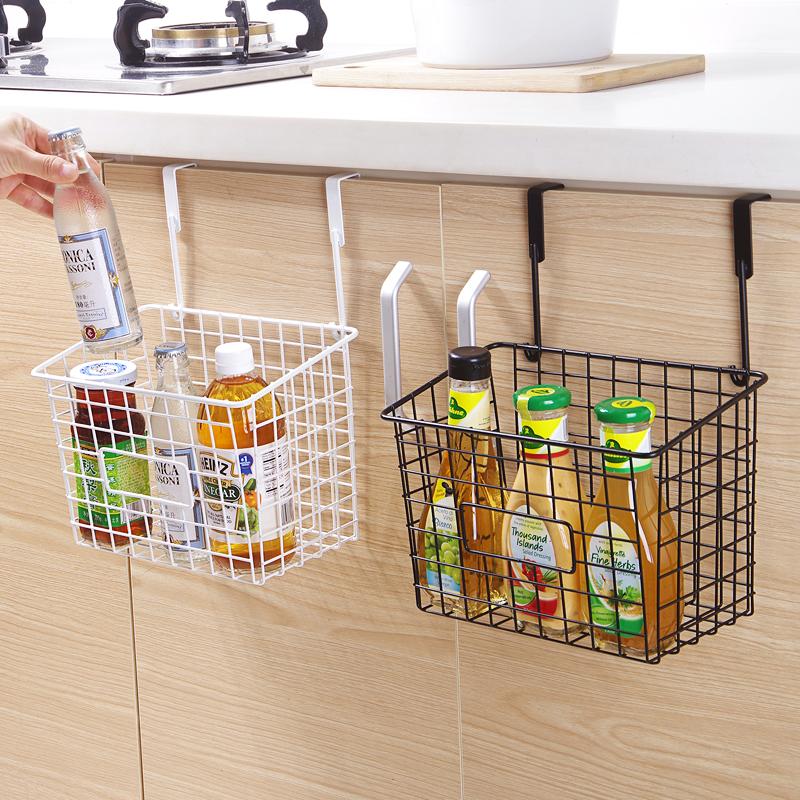 日式铁艺收纳篮厨房免打孔挂篮置物篮浴室卫生间挂式置物架储物篮