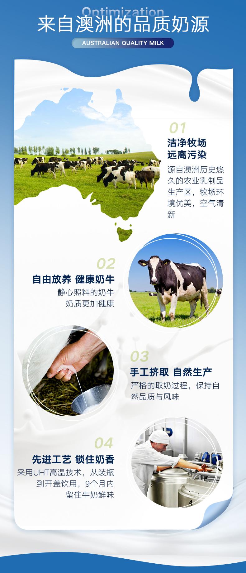 奥乐齐 澳洲进口 全脂牛奶 1L*6盒 图2