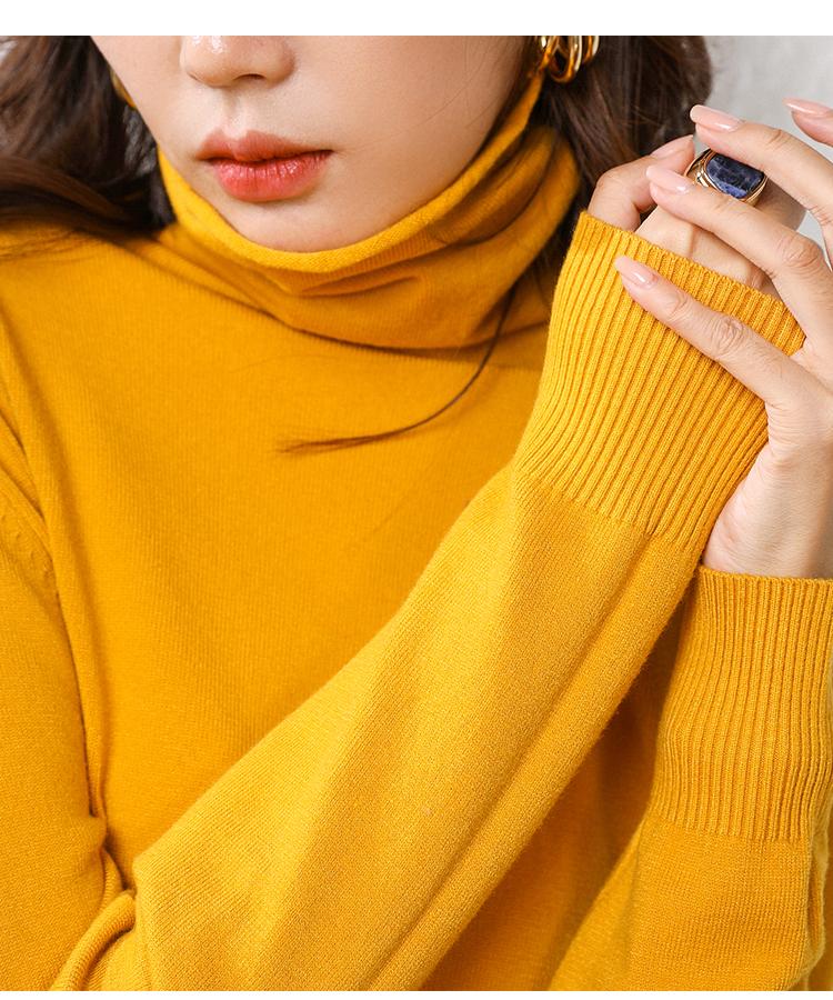 澳苑【品牌清仓】堆堆领短款宽松慵懒风高领套头韩版打底针织衫商品详情图