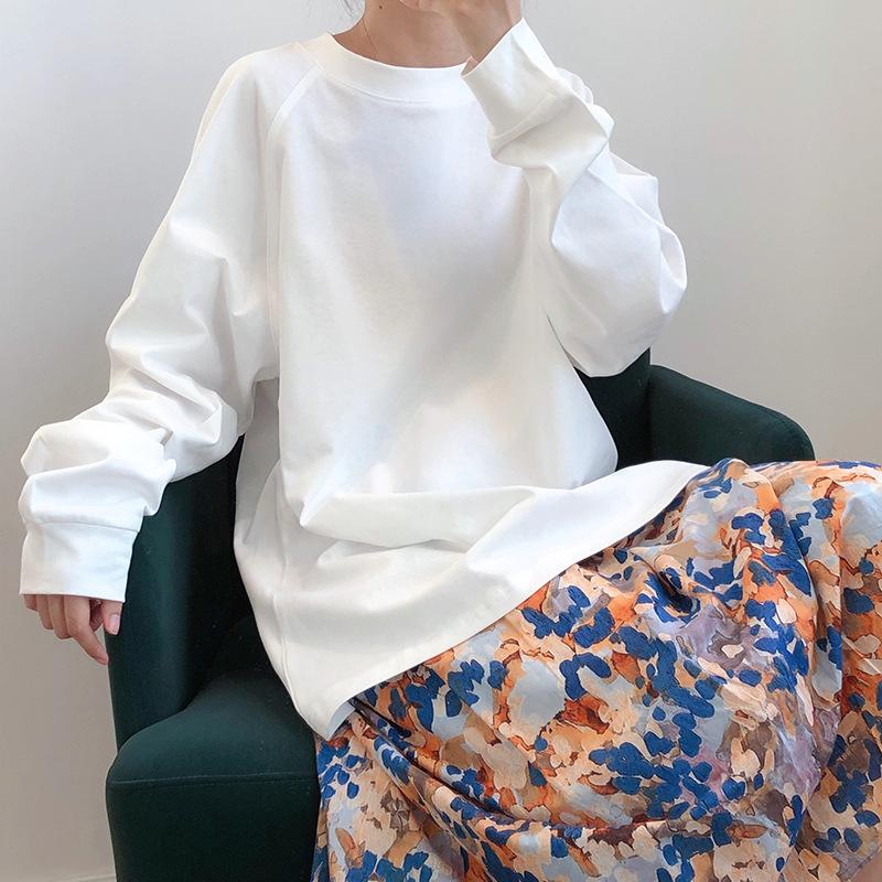 Áo len nữ mùa xuân 2020 Áo khoác nữ phiên bản Hàn Quốc hoang dã bf lười gió cổ tròn tay áo dài mặc ngoài áo khoác thủy triều - Áo len