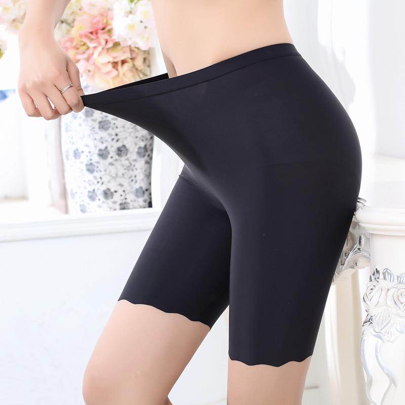 Băng lụa không có dấu vết chống ánh sáng quần an toàn nữ mùa hè cộng với chất béo XL chất béo mm200 kg năm điểm xà cạp bảo hiểm quần