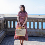 Lace dress 2021 spring new beach skirt seaside vacation female self-cultivation sexy hollow long super fairy