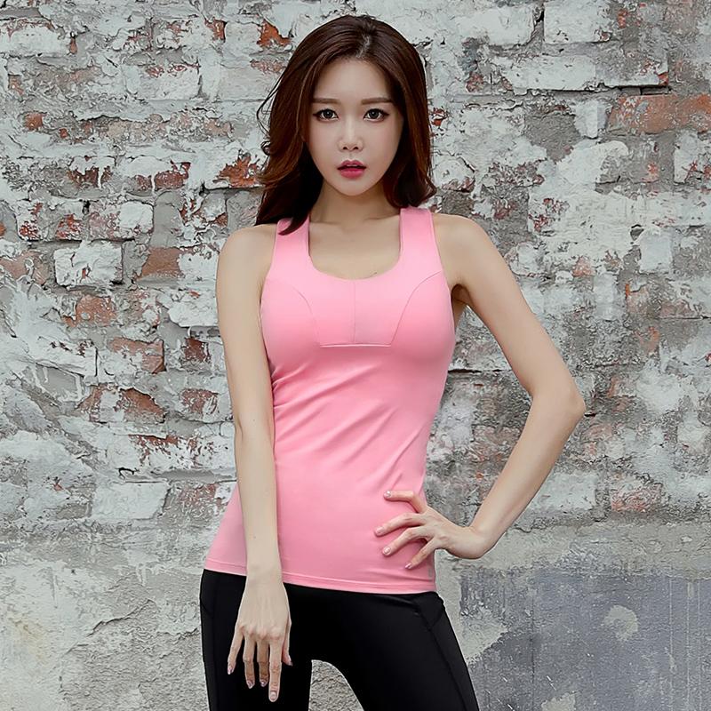 瑜伽服女2017新款韩国夏季专业健身房跑步上衣粉色运动背心带胸垫
