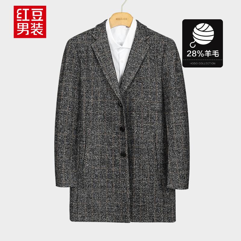 红豆 羊毛雪花呢格纹夹棉 男式大衣 天猫优惠券折后¥89包邮(¥159-70)