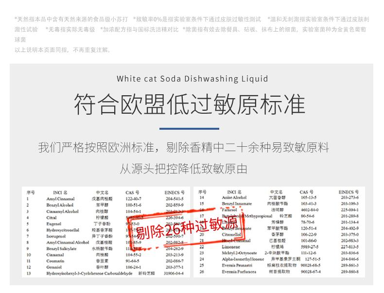 白猫天然苏打洗洁精1.1kg×4瓶