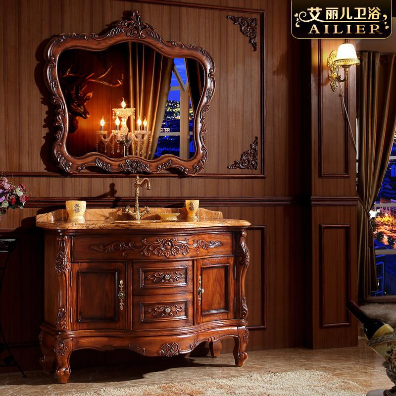 艾麗兒歐式浴室柜組合 美式紅橡木衛浴柜 實木洗漱臺落地洗臉盆柜