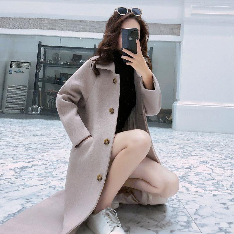 毛呢外套女装2018冬季韩版洋气质宽松加棉加厚超长款过膝呢子大衣