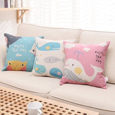 Nordic cartoon sofa pillow cushion pink cute cotton linen cushion pillow car waist pillow bedside bay window waist