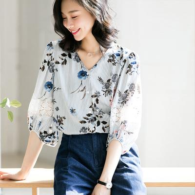 Yếu tố nghệ thuật sọc in bảy điểm đèn lồng tay áo voan áo blouse mùa hè 2018 mới ren khâu áo sơ mi Áo sơ mi chiffon ren