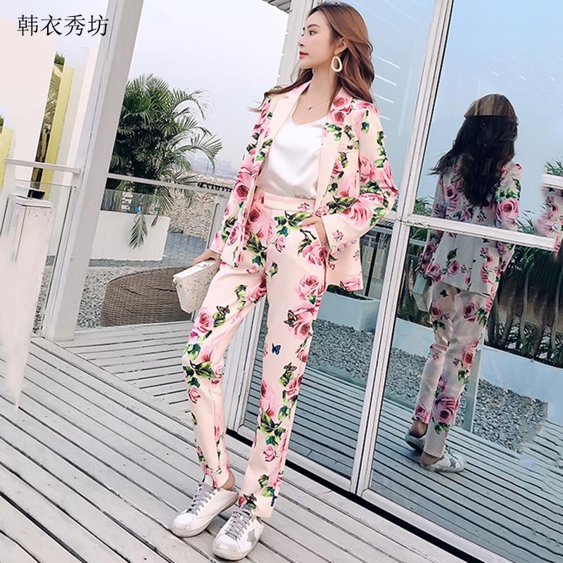 2018春秋新款韩版气质名媛花朵印花小脚裤长裤西装套装两件套女