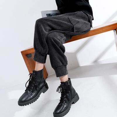 灯芯绒工装裤女秋冬季2021新款高腰束脚显瘦哈伦萝卜条绒休闲裤子