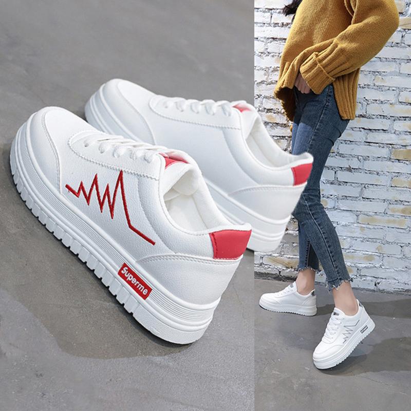 新款时尚女鞋小白鞋休闲板鞋厚底运动鞋女