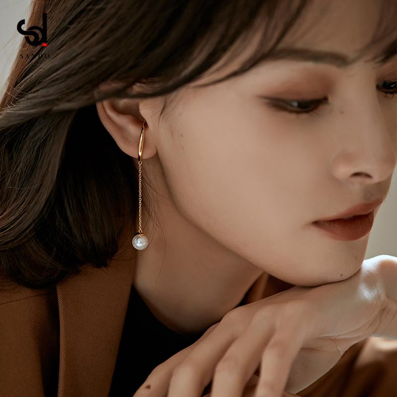 纯银仙气森系珍珠长款耳夹无耳洞耳环