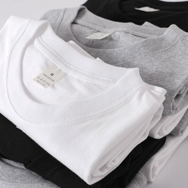Thương hiệu Nhật Bản nặng retro liền mạch thùng dệt bằng vải cotton 210g cổ tròn tay áo ngắn - Áo phông ngắn