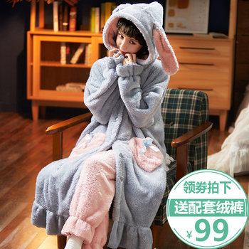 Pajamas female winter plus thick velvet autumn and winter flannel nightgown lovely nightgown long section of coral velvet tracksuit suits