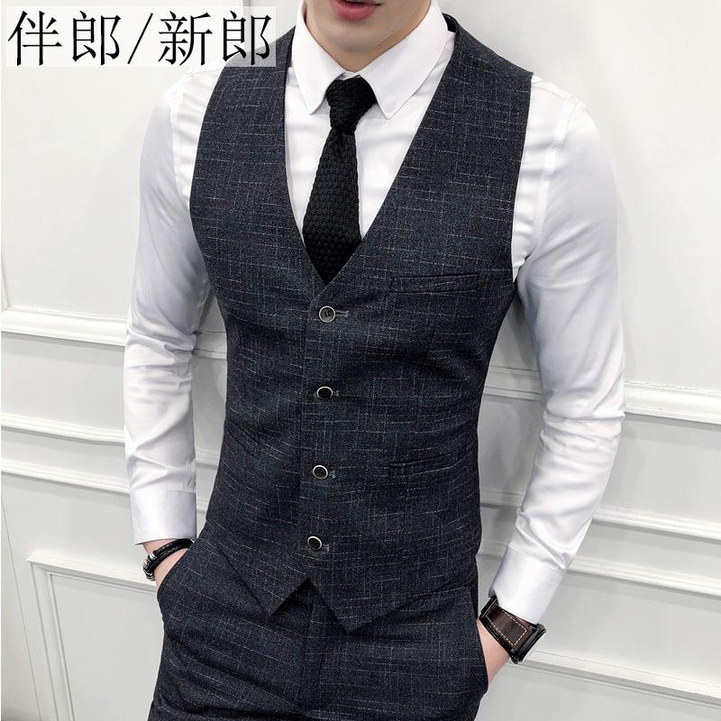 Váy cưới nam chú rể quần áo phần mỏng phù hợp với bộ quần áo mùa thu vest toast dịch vụ phù rể phù hợp với anh trai - Suit phù hợp