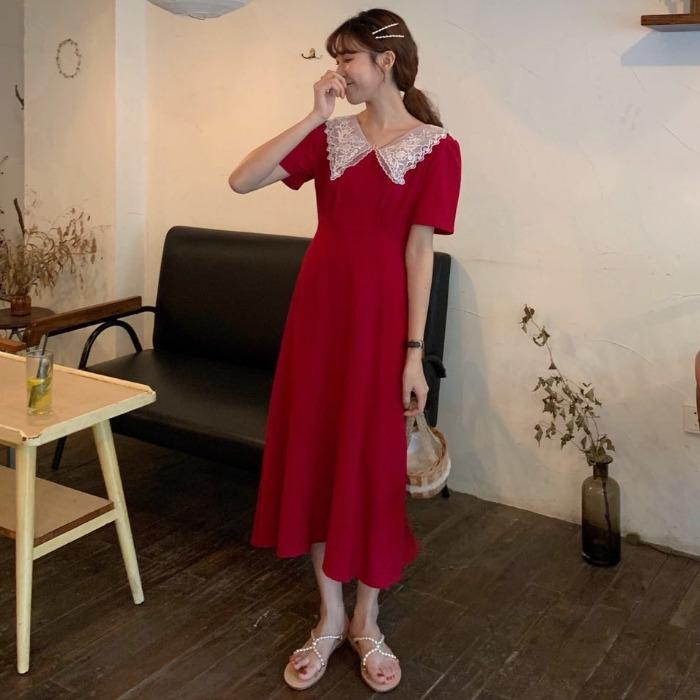夏季韩版女装蕾丝娃娃领短袖A字长裙连衣裙长款裙子2019新款ins潮
