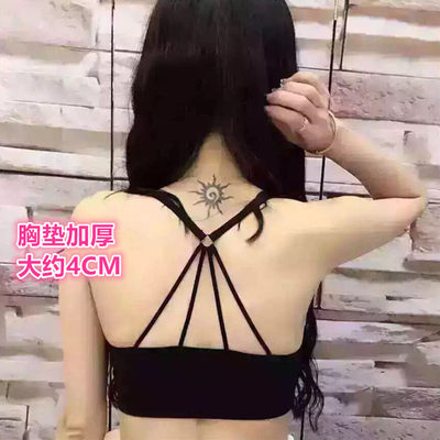 Cross beauty back gathered tube top strap bottoming underwear anti-failure wrapped chest no steel ring thickened bra pad bra female summer