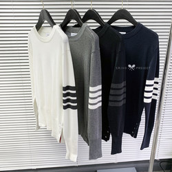 The new classic tb four bars strip ribbon round neck wool pullover for men and women Slim