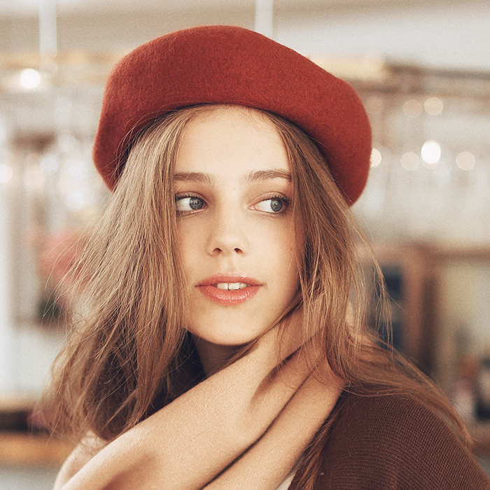 AI/ шляпа женский осенний тепло зимой европа и америка берет случайный живопись домой крышка шерстяной тыква крышка дикий войлок крышка