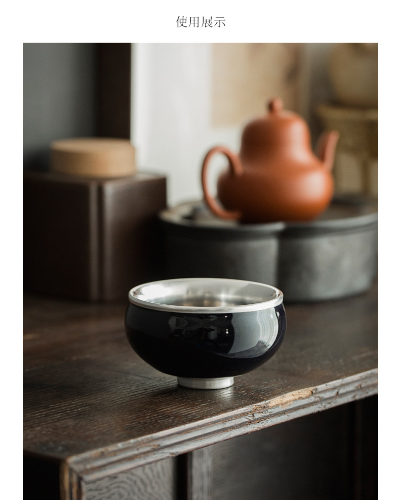 Ceramic story coppering. As silver light konoha roast flowers built lamp temmoku bodhi leaf tea master cup single cup sample tea cup