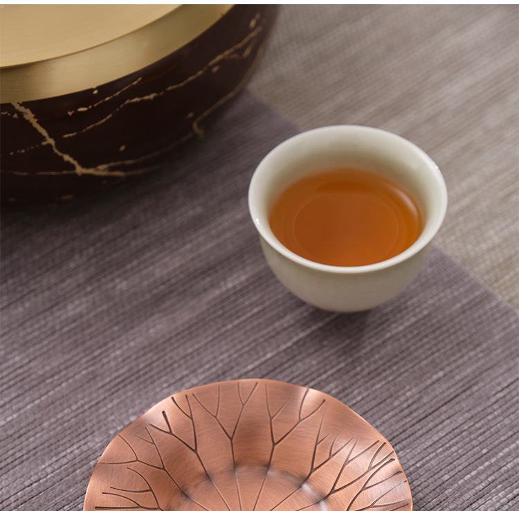 Copper pure Copper cup mat sample tea cup saucer ceramic story Japanese tea taking insulation prevent hot kung fu tea accessories