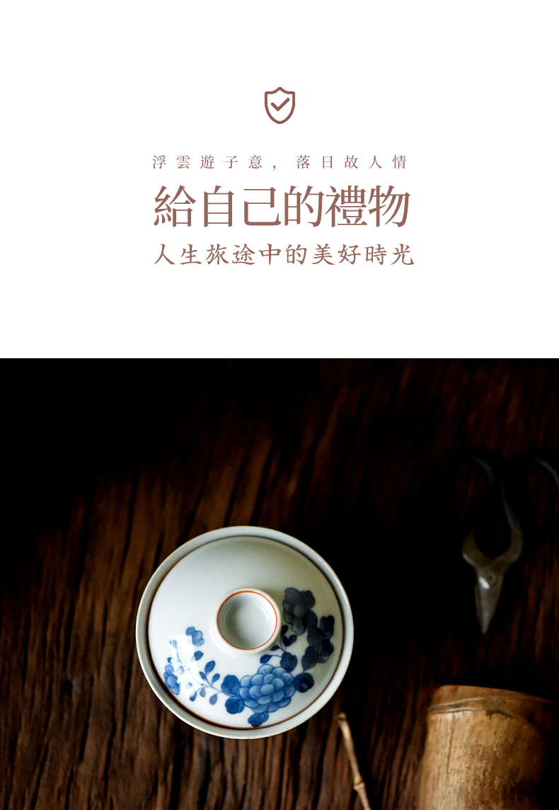 High - end checking hand - made ceramic story town tureen three blue and white peony tureen single small tureen