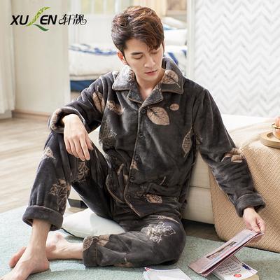 男士睡衣男冬季加厚款珊瑚绒长袖家居服秋冬天大码法兰绒保暖套装