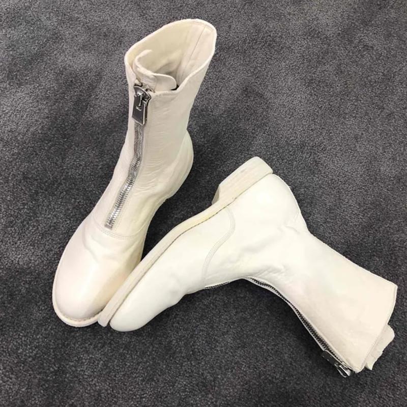 2019真皮guidi短靴前拉链秋冬平底中筒靴马丁靴女单靴内增高女靴