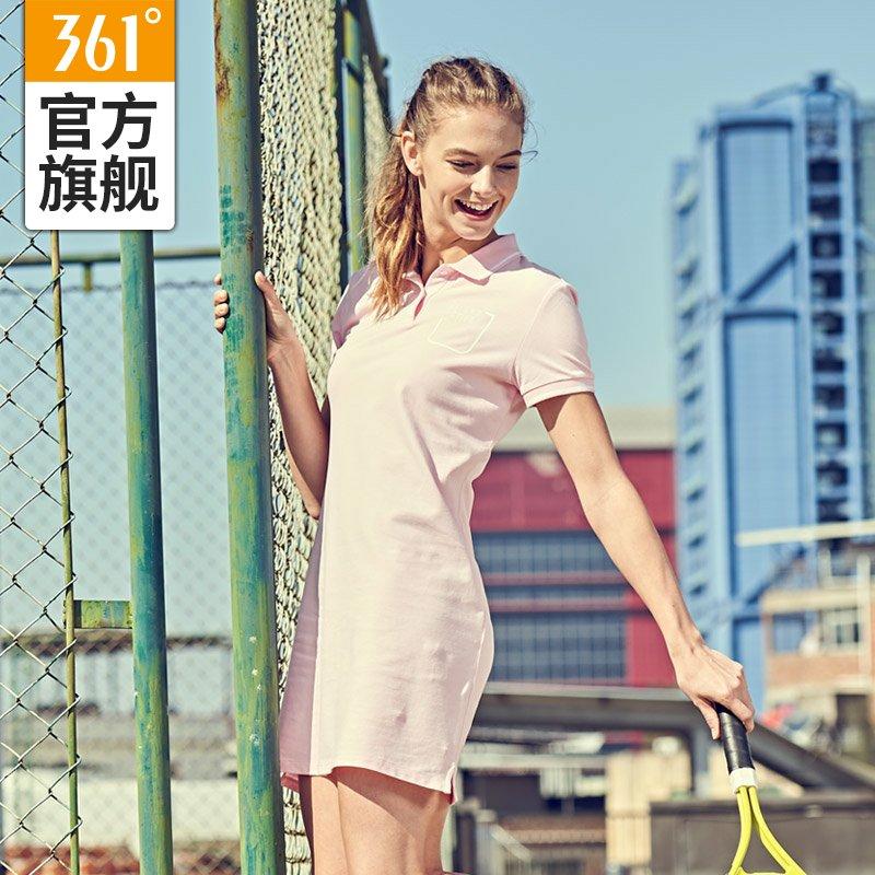 361 độ của phụ nữ 2018 ve áo mỏng ngắn tay áo thể thao ăn mặc 361 bà thể dục váy váy quần vợt