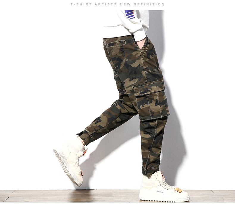 秋冬新大码胖子束脚多口袋工装迷彩刺绣带腰带牛仔长裤P75#6244