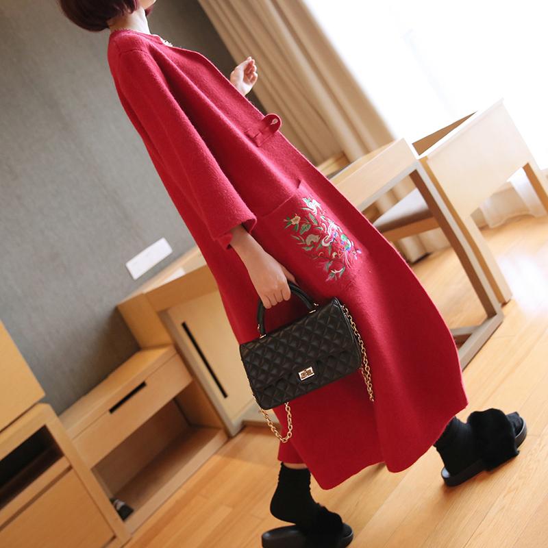 韩版超长外搭民族风刺绣针织开衫女秋冬复古宽松中长款大毛衣外套